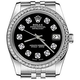 Rolex Datejust Stainless Steel Black Dial with Diamond Accent 26mm Women`s Watch