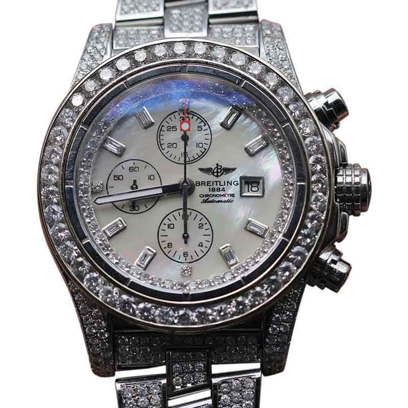 "Image of ""Breitling Super Avenger Stainless Steel With Diamonds Mens Watch"""