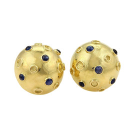 Tiffany & Co. 14K Yellow Gold Cabochon Sapphire Half Dome Stud Earrings