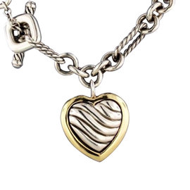 David Yurman 18K Yellow Gold & Sterling Silver Heart Pendant Figaro Necklace