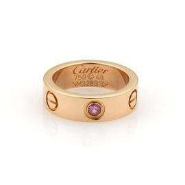 Cartier Love 18K Rose Gold Pink Sapphire Band Ring Size 4.5