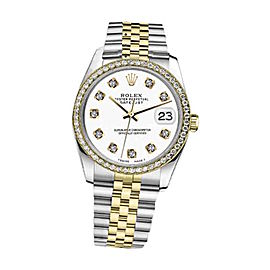 Rolex Datejust 2 Tone White Color Dial With Diamonds Womens 26mm Watch