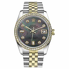 Rolex Datejust 2 Tone Black MOP Mother Of Pearl 8+2 Diamond 26mm Watch