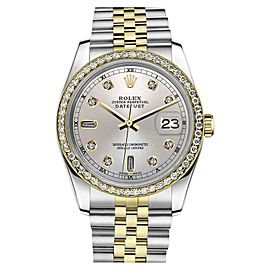Rolex Datejust Two Tone Silver Color Dial Diamond Accent 31mm Watch