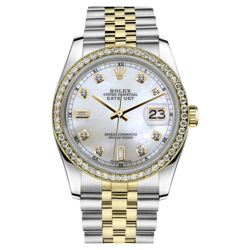 "Image of ""Rolex Datejust Stainless Steel 18K Yellow Gold Mother Of Pearl Diamond"""