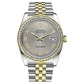 Rolex Datejust 18K Yellow Gold Stainless Steel and Diamonds Slate Grey Roman Numeral Dial 31 mm Watch