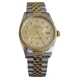 Rolex Datejust 16013 Two Tone 18K Gold & Stainless Steel Champagne Diamond Mens Watch