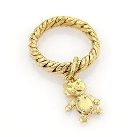 Pomellato 18K Yellow Gold Animated Cat Drop Charm Ring