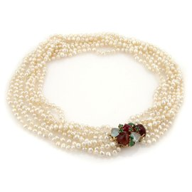 14K Yellow Gold Multistrand Baroque Pearls & Multi Gems Choker Necklace