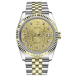 Rolex Datejust 2 Tone Diamond Dial with Champagne Gold Jubilee Metal Womens 36mm Watch