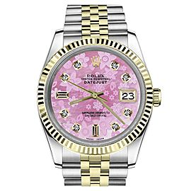 Rolex Datejust Stainless Steel 18K Yellow Gold and Diamond Pink Flower Mother of Pearl 36mm Watch