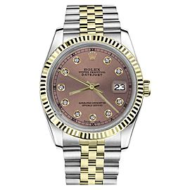 Rolex Datejust 2Tone Salmon Color Dial with Diamond Accent RT Womens 36mm Watch