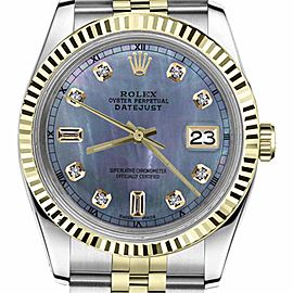 Rolex Datejust 2Tone Tahitian MOP Mother of Pearl 8+2 Diamond Dial RT Womens 36mm Watch