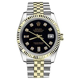 Rolex Datejust 2Tone Black Color Dial with 8+2 Diamond Accent Womens 36mm Watch