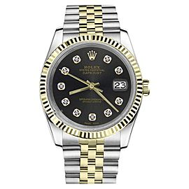 Rolex Datejust 2Tone Chocolate Dial with Diamond Accent Womens 36mm Watch