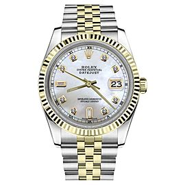 Rolex Datejust Two Tone White Mother Of Pearl Dial Diamond Accent Mens 36mm Watch