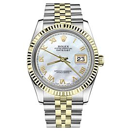 Rolex Datejust Two Tone White Mother Of Pearl Roman Numeral Dial Womens36mm Watch