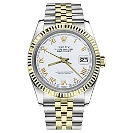 Rolex Datejust Two Tone White Roman Numeral Dial Womens 36mm Watch