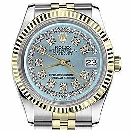 Rolex Datejust Two Tone Ice Blue String Diamond Dial Womens 26mm Watch