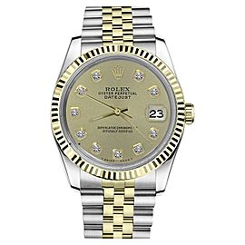 Rolex Datejust 2Tone Champagne Color Diamond Accent Dial Womens 36mm Watch