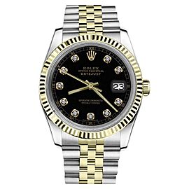 Rolex Datejust 2Tone Black Color Dial with Diamond Accent Womens 36mm Watch