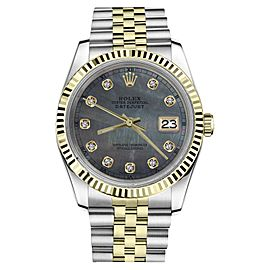 Rolex Datejust 2Tone Black MOP Mother Of Pearl Dial Diamond Womens 36mm Watch