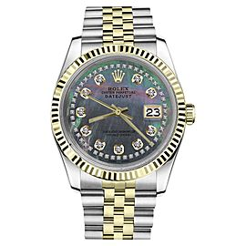 Rolex Datejust 2Tone Black MOP Mother of Pearl String Diamond Accent Womens 36mm Watch
