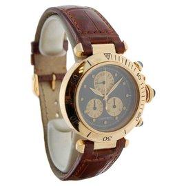 Cartier Pasha Chronograph 18K Yellow Gold Quartz Mens Wrist 35mm Watch