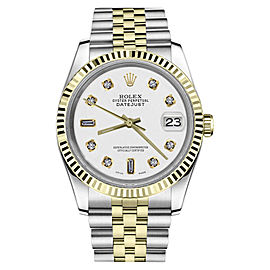 Rolex Datejust 2Tone White Color Dial with 8+2 Diamond Accent 36mm Watch
