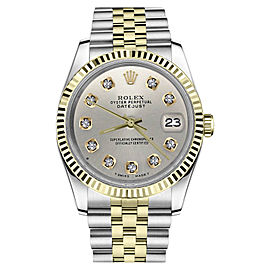 Rolex Datejust 2Tone Silver Color Dial Diamond Accent Womens 36mm Watch