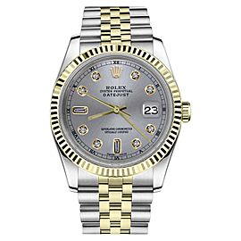 Rolex Datejust 2Tone Slate Grey Color Dial Diamond Accent Mens 36mm Watch