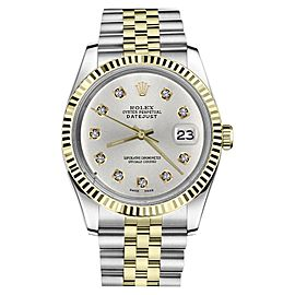 Rolex Datejust 2Tone Silver Color Dial Round Diamond Accent Mens 36mm Watch