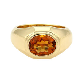 Bulgari 2ct Oval Citrine 18K Yellow Gold Solitaire Ring Size Small