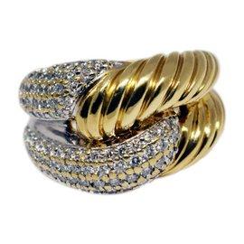David Yurman 18k Yellow Gold & Diamonds Labyrinth Ring Size 5.75