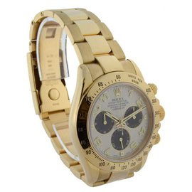 Rolex Daytona 18K Yellow Gold Panda Dial Chronograph Mens Auto Watch