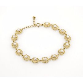 Mikimoto 18K Yellow Gold and Akoya Pearls Floral Link Adjustable Bracelet