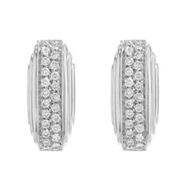 Salvini 18K White Gold 0.68ct. Diamonds Huggie Earrings