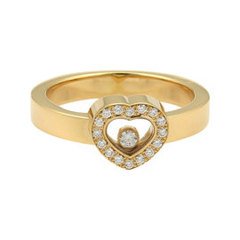 Chopard 18K Yellow Gold and Diamonds Happy Heart Ring Size 7.5