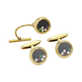 Chopard 18K Yellow Gold 0.30ct Diamond & Gemstone Cufflinks