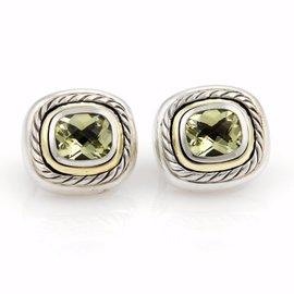 David Yurman Albion Peridot Sterling Silver & 14K Yellow Gold Large Earrings