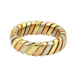 Bulgari 18K Tri Color Gold Tubogas Band Ring Size Small