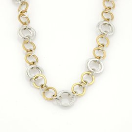Tiffany & Co. 18K Yellow Gold Sterling Silver Fancy Circle Link Necklace