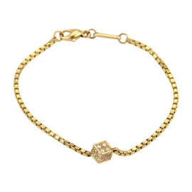 Chopard 18K Yellow Gold Diamonds Cube Charm Box Chain Bracelet