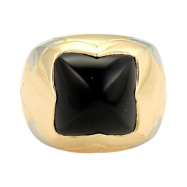 Bulgari Piramide 18K Two Tone Gold Onyx Floral Dome Shape Ring