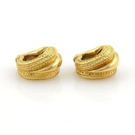 Tiffany & Co. 18K Yellow Gold Textured Shell Design Huggie Clip On Earrings