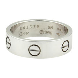 Cartier Love 18K White Gold Band Ring Size 8.75