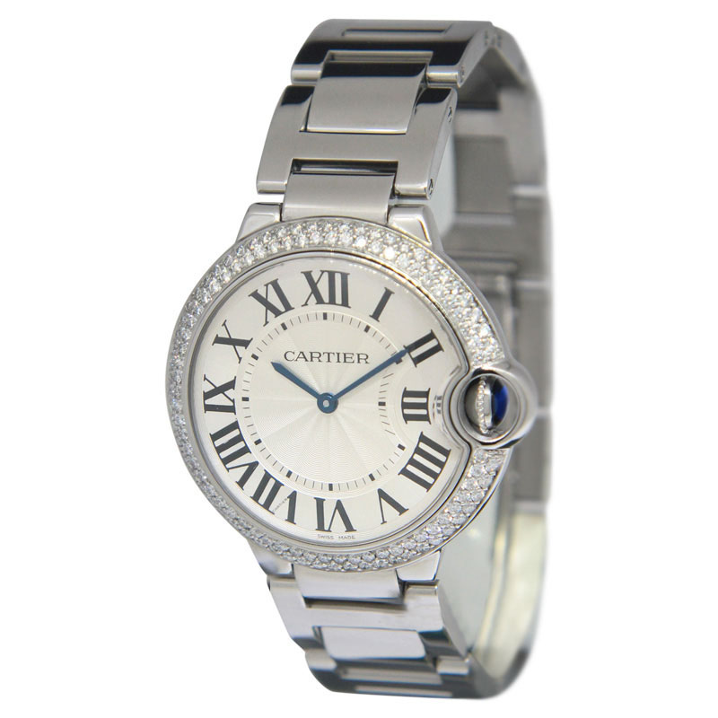 Cartier Ballon Bleu Steel Diamond Midsize Quartz Watch