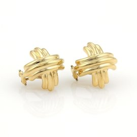 Tiffany & Co. 18K Yellow Gold Signature X Crossover Earrings