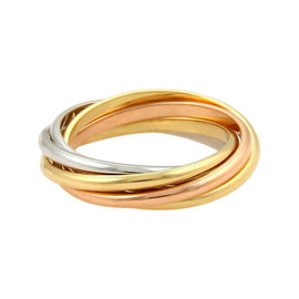 Cartier Trinity 18K Tri-Color Gold 5 Rolling Band Ring 4.25