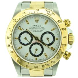 Rolex Daytona 16523 18K Yellow Gold/Stainless Steel White Zenith El Primero Mens Watch